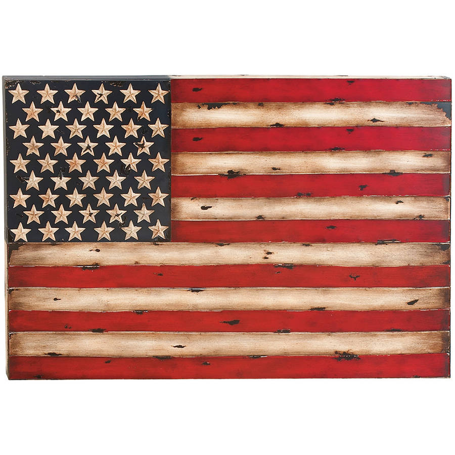 Decmode Metal Flag Wall Decor, Multi Color