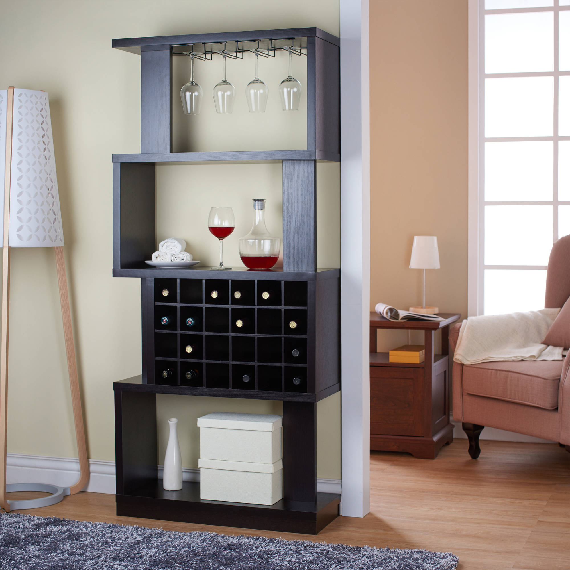 Details About 4 Tier Wood Wine Stand Bar Rack Cabinet Shelving Unit Holder Wall Room Divider