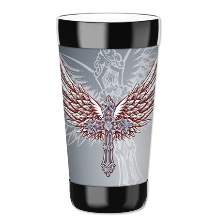 Mugzie 16-Ounce Tumbler Drink Cup with Removable Insulated Wetsuit Cover - Cross & Wings