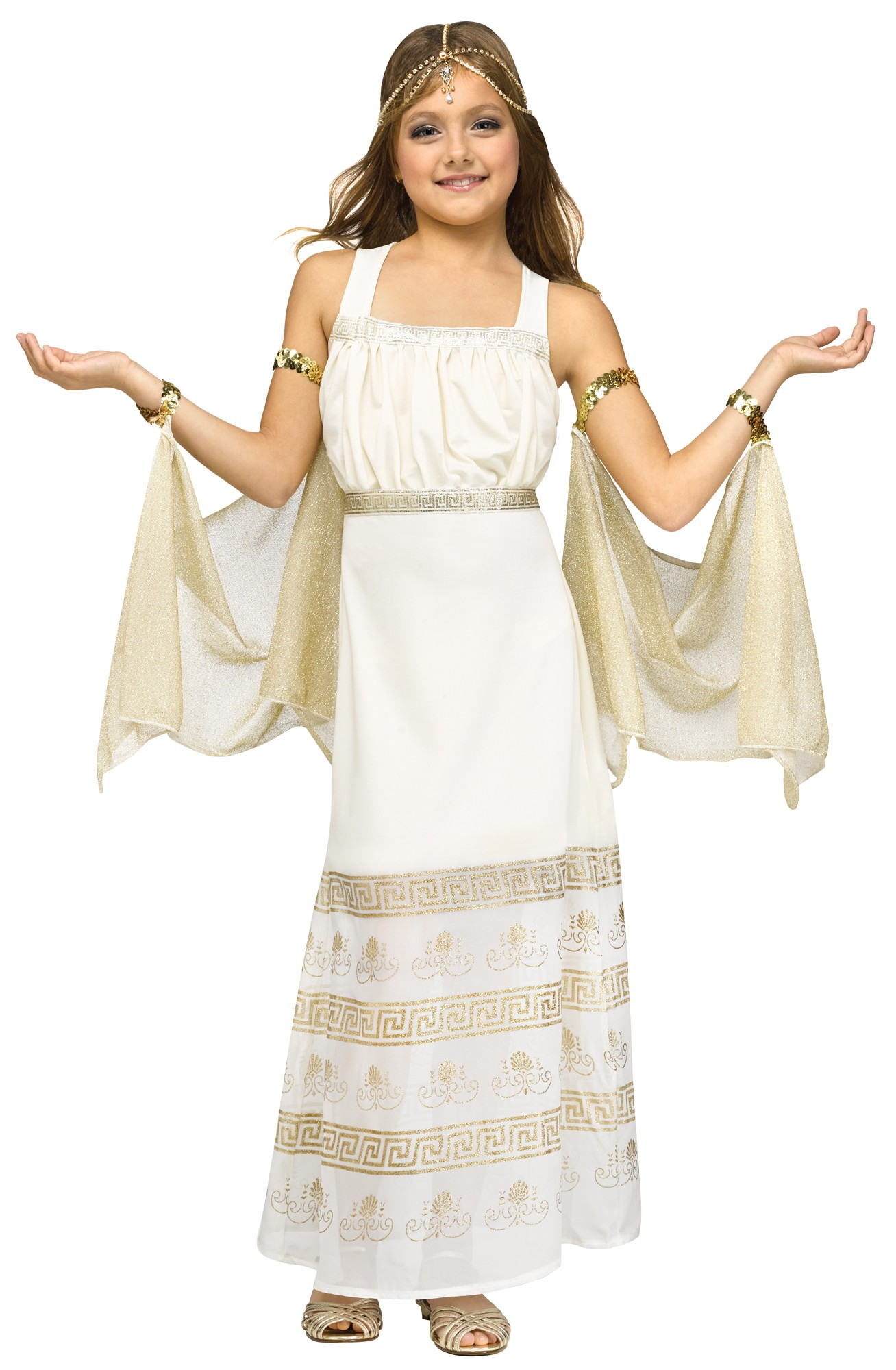 Golden Goddess Halloween Costume Girls Cleopatra Roman Gown Princess New