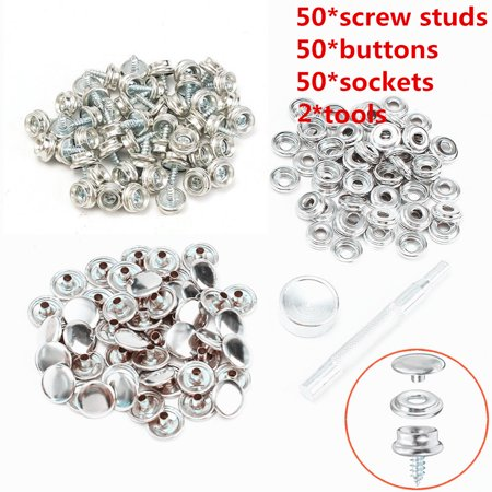 Boat Marine Canvas Fabric Snap Cover Button + Socket Kit Tent Fastener Tool Silver 50 sets(153Pcs) thumbnail