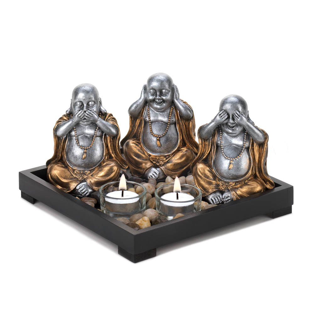 Candle Holders, Decorative Buddha  Center Table Candle Holder Plate Set