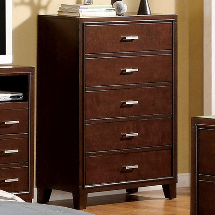 Enrico I Contemporary Style Utility Chest, Brown Cherry