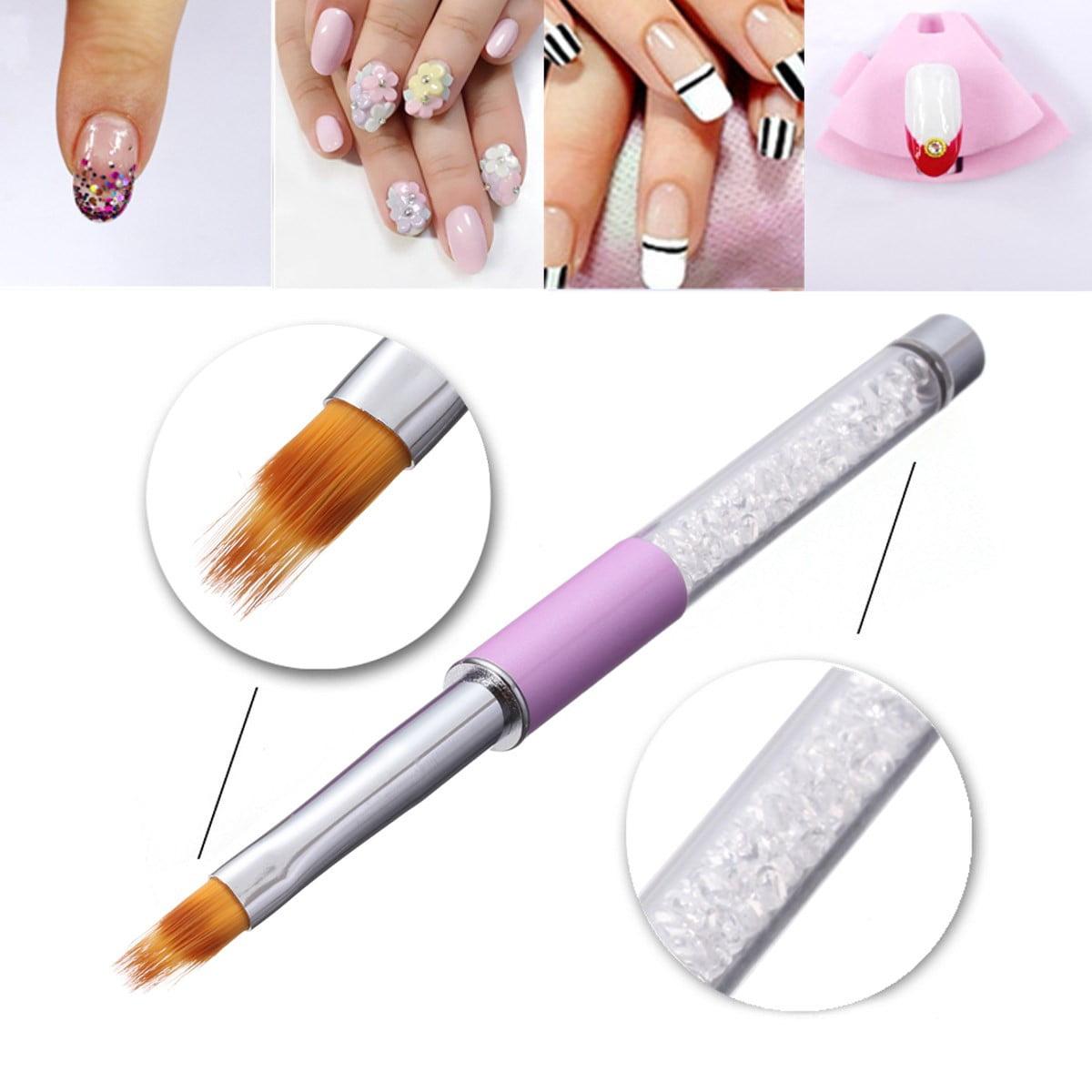 Uv Gel Nail Brush Rhinestone Handle Nylon Hair Ombre Brush Pro Nail