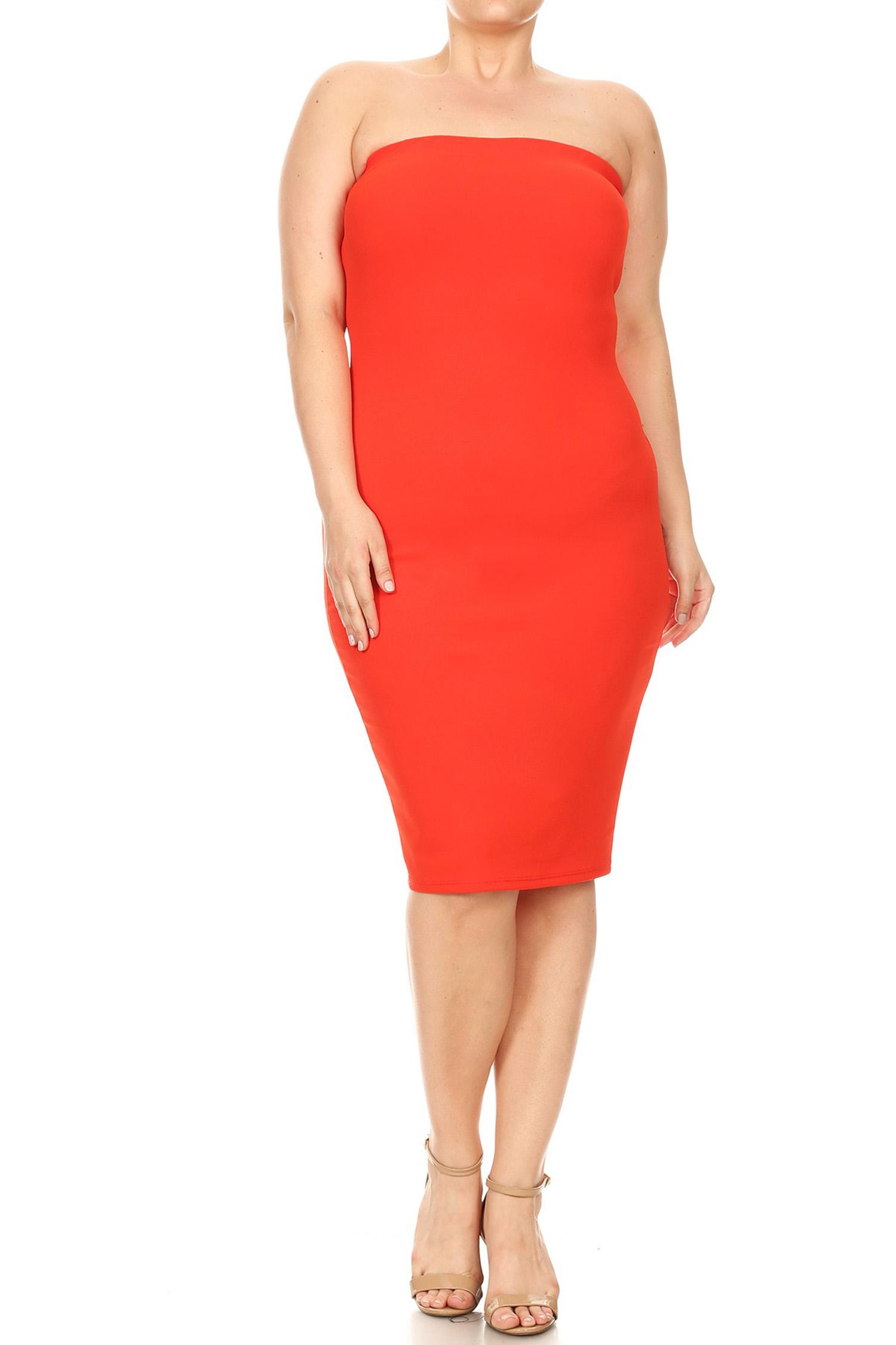Women's Plus Size Solid Bodycon Dress