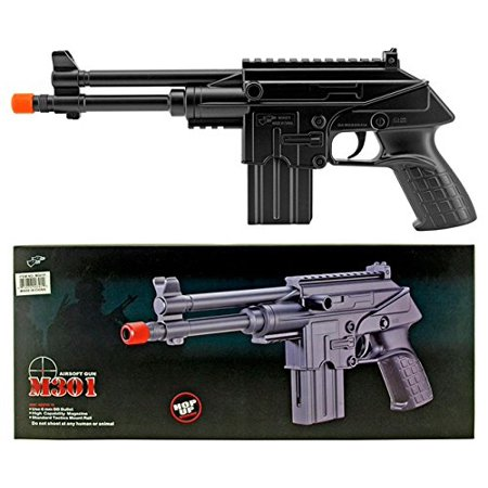 Double Eagle Spring Airsoft Pistol Hand Gun M301F SMG w/ 6mm BBs - 140 ROUND MAG - Air Mags Fake