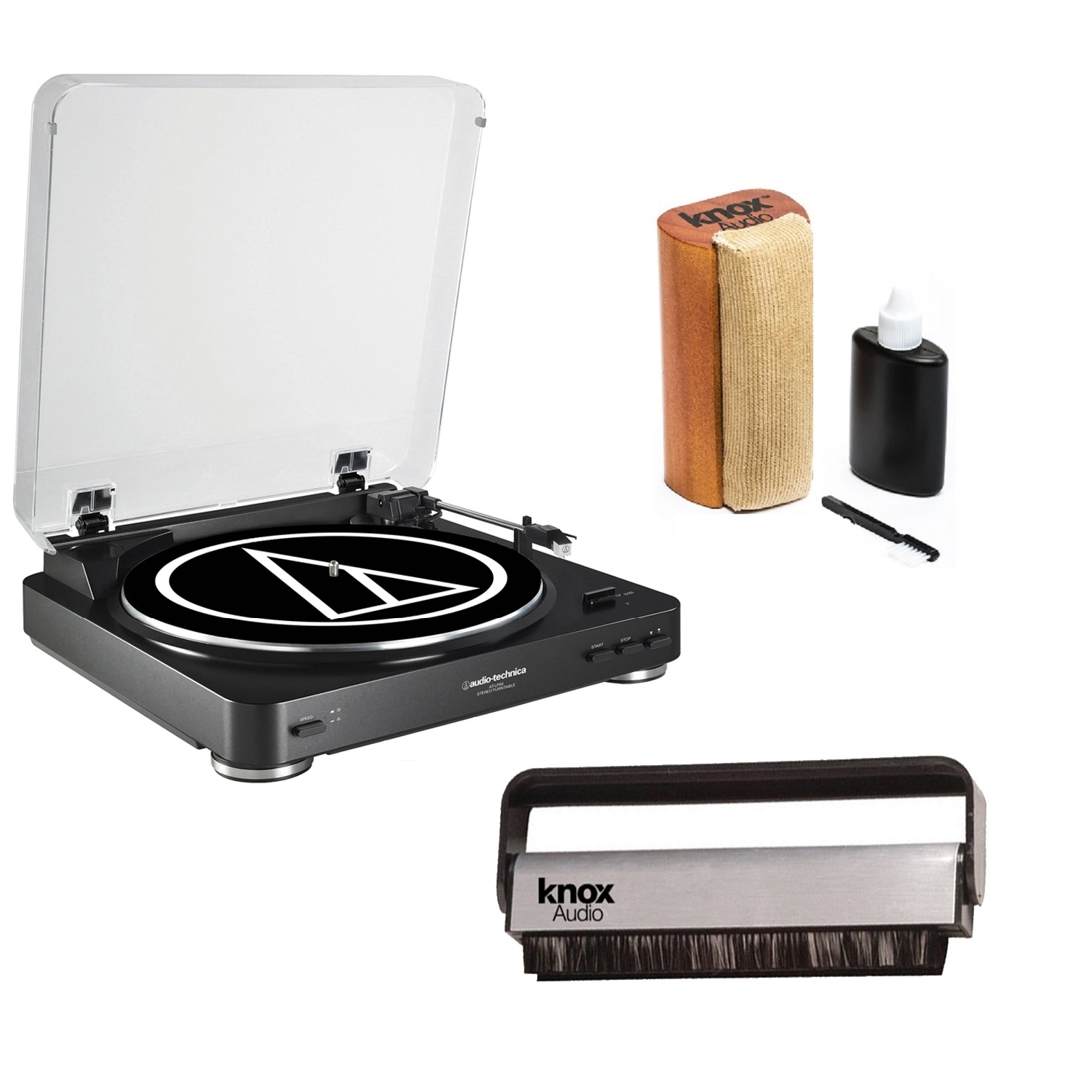 Audio-Technica AT-LP60BK Turntable + Knox Vinyl Cleaning Brush + Cleaning Kit