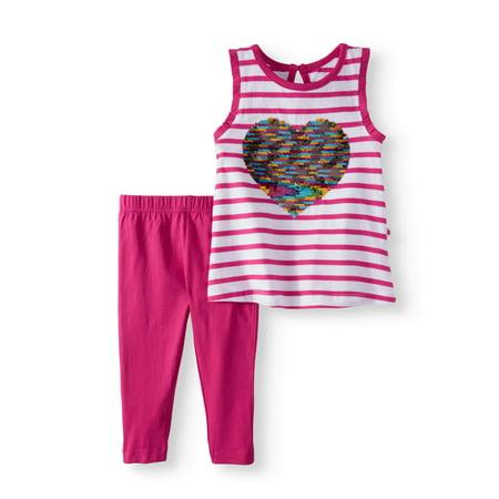 Toddler Girl Flip Sequin Tank Top & Capri Leggings, 2pc Outfit Set