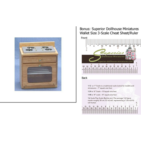 Dollhouse Miniature Kitchen Stove Oak w/3-Scale Wallet Ruler