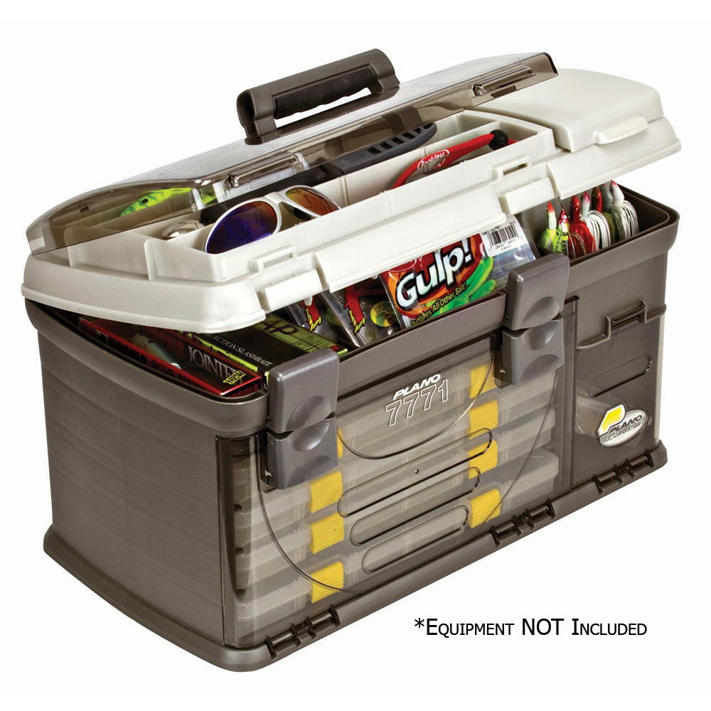 Plano Fishing Guide Series Five Utility Pro System Tackle Box, Graphite/Sandstone
