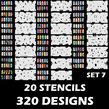 Custom Body Art Airbrush Nail Stencils - Design Series Set # 7 includes 20 Individual Nail Templates with 16 Designs](Halloween Body Art Stencils)