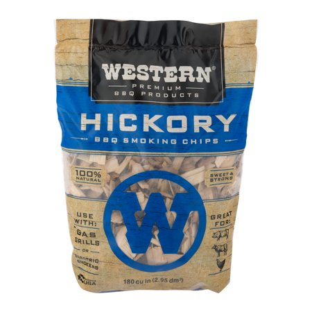 Western Premium BBQ Products Hickory BBQ Smoking Chips, 180 cu