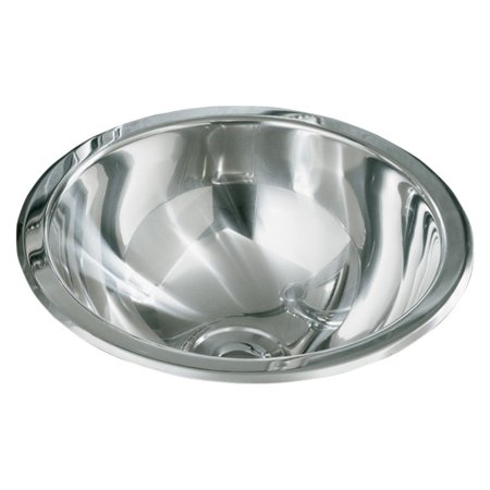 Sterling 1411-0 Buffed Polished Mirror Stainless Steel Round Bathroom Sink, Stainless Steel