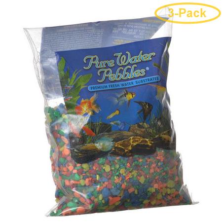 Neon Pebble - Pure Water Pebbles Aquarium Gravel - Neon Rainbow 2 lbs (3.1-6.3 mm Grain) - Pack of 3