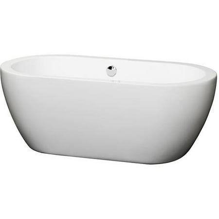 "Wyndham Collection Soho 60"" Freestanding Bathtub, White with Polished Chrome Drain and Overflow Trim"