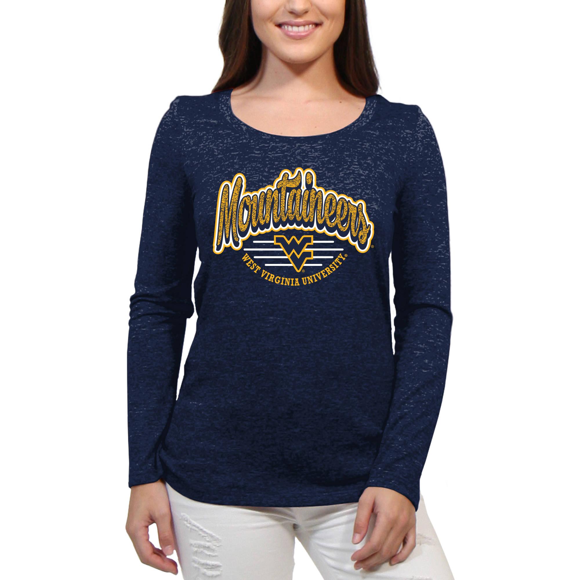 West Virginia Mountaineers Funky Script Women'S/Juniors Team Long Sleeve Scoop Neck Shirt