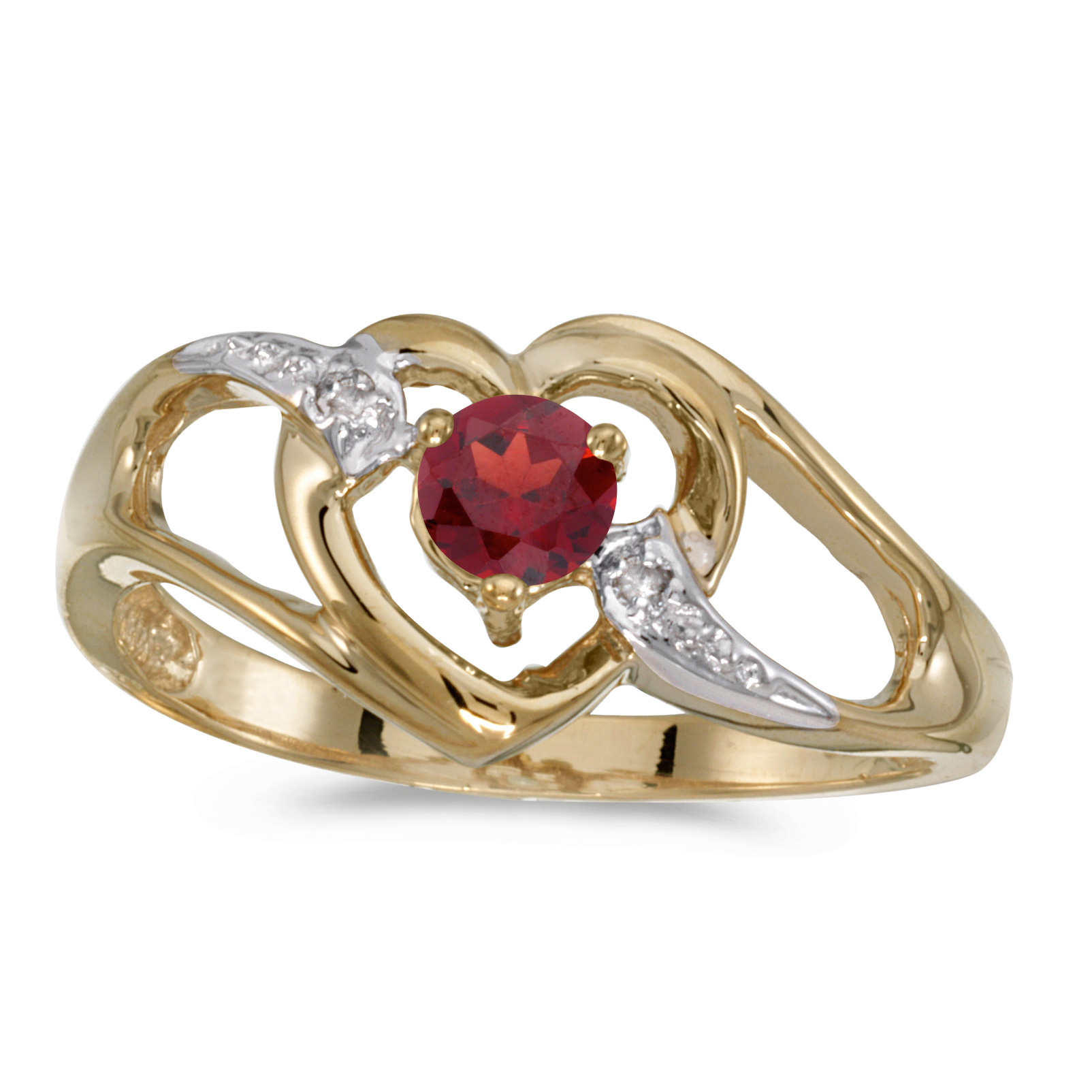 10k Yellow Gold Round Garnet And Diamond Heart Ring by