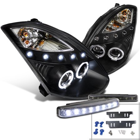 Spec-D Tuning For 2003-2007 Infiniti G35 2Dr Coupe Halo Projector Black Headlight + 8-Led Bumper Fog Lamp (Left+Right) 2003 2004 2005 2006 -