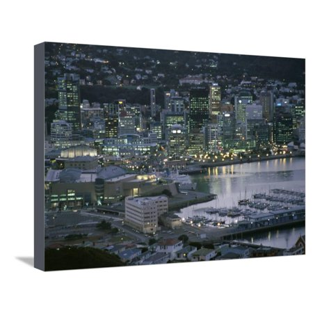 Te Papa Museum Marina and City Lights in the Evening, Wellington, North Island, New Zealand Stretched Canvas Print Wall Art By D H (Double H Wellington)