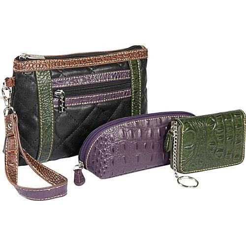 Sydney Love Quilted Cosmetic/Croc Wallet/Croc Eyeglass Case set