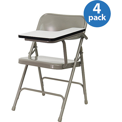Premium Steel Folding Chair with High-Pressure Laminate Tablet Arm, Set of Four