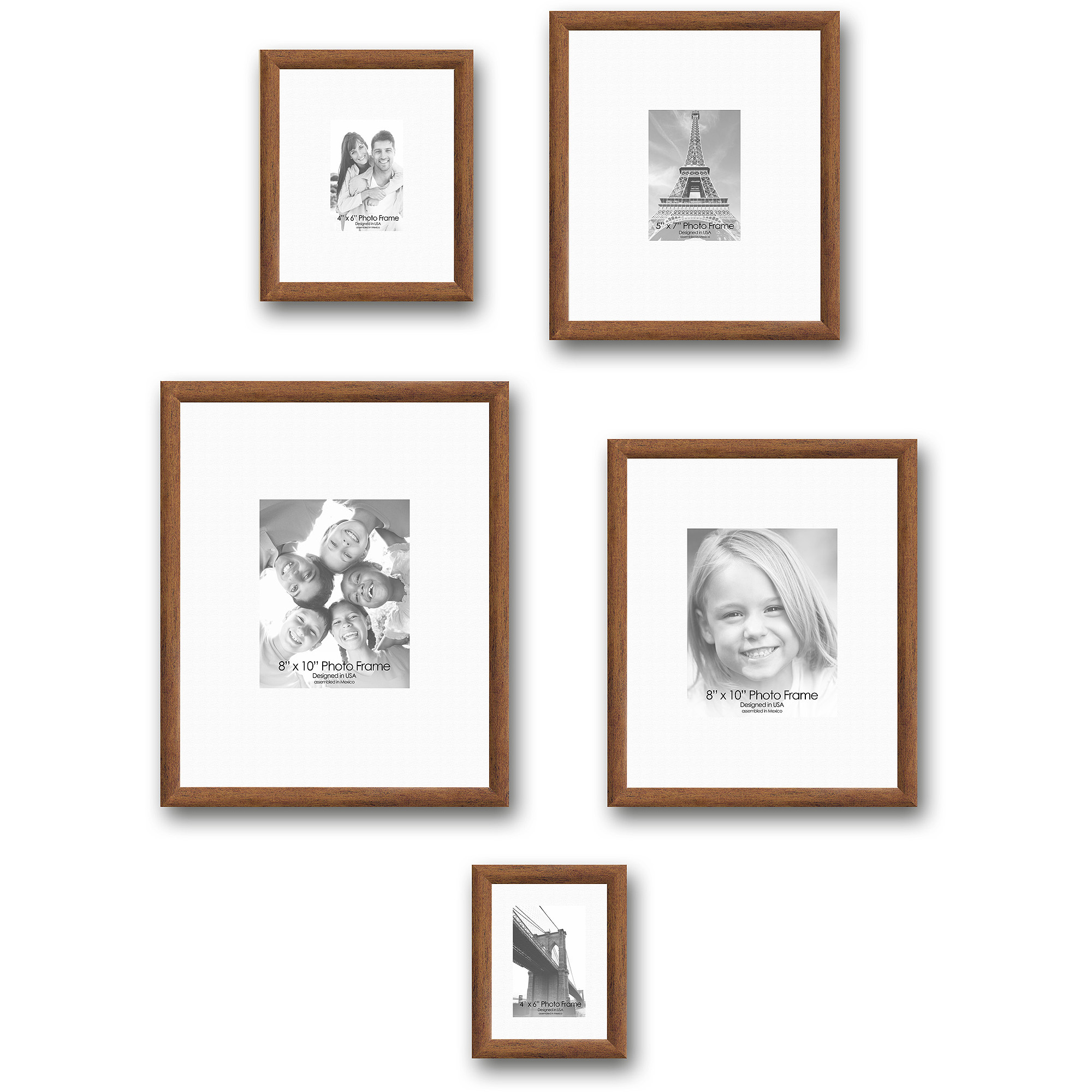 Gallery Frames, Set of 5, Gold