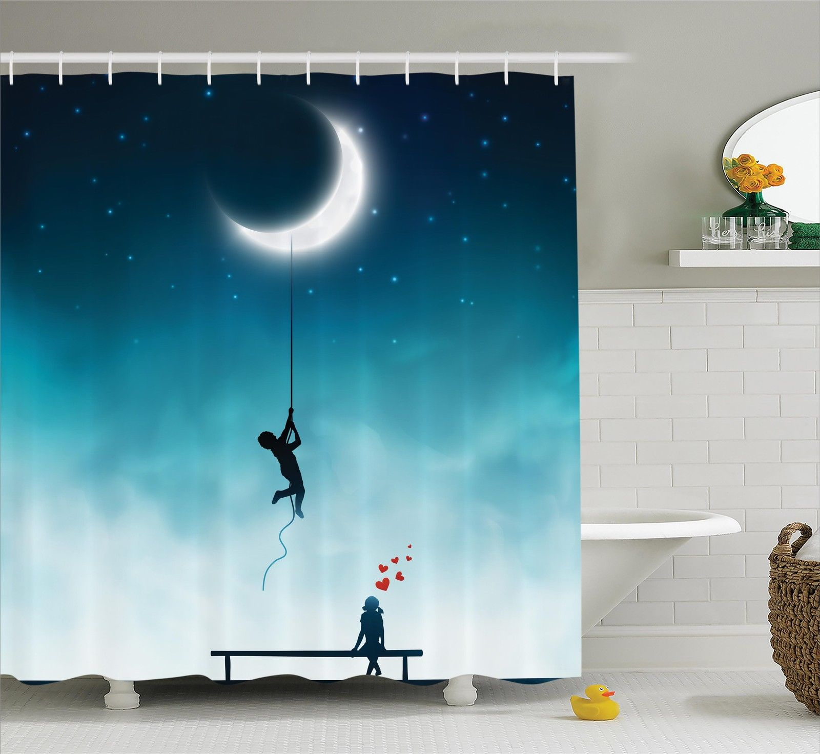 Fantasy House Decor  Boy Climbing To The Moon With Rope G...