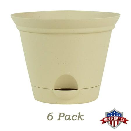 6 Pack 7 Inch Latte Quartz Plastic Self Watering Flare Flower Pot or Garden -