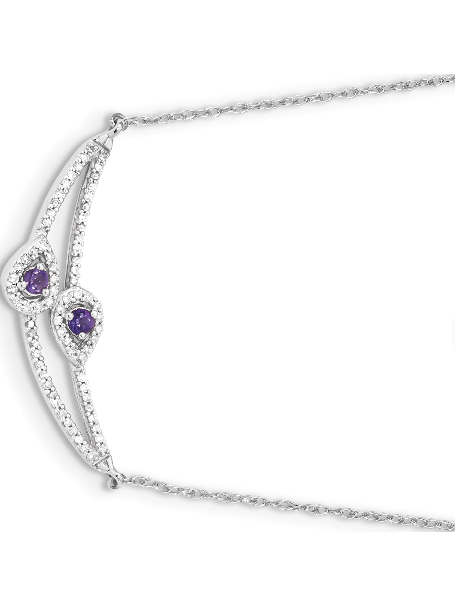 14k White Gold White Diamond & Amethyst Necklace by