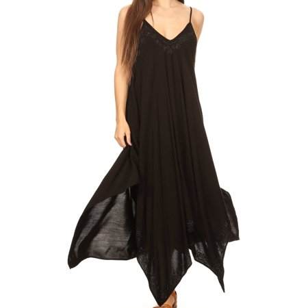 4116f570cac Sakkas - Sakkas Eleonora Stonewashed Embroidered Spaghetti Strap  Handkerchief Dress - Black - One Size Plus - Walmart.com