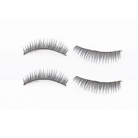 Women Nylon Long Self-adhesive False Eyelashes Strip Makeup Tool 2 Pairs