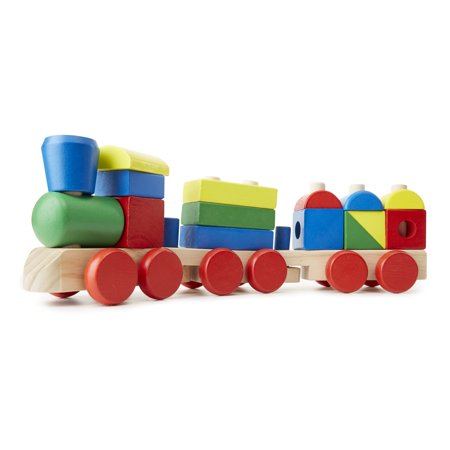 Old Wooden Toys - Melissa & Doug Stacking Train - Classic Wooden Toddler Toy (18 pcs)