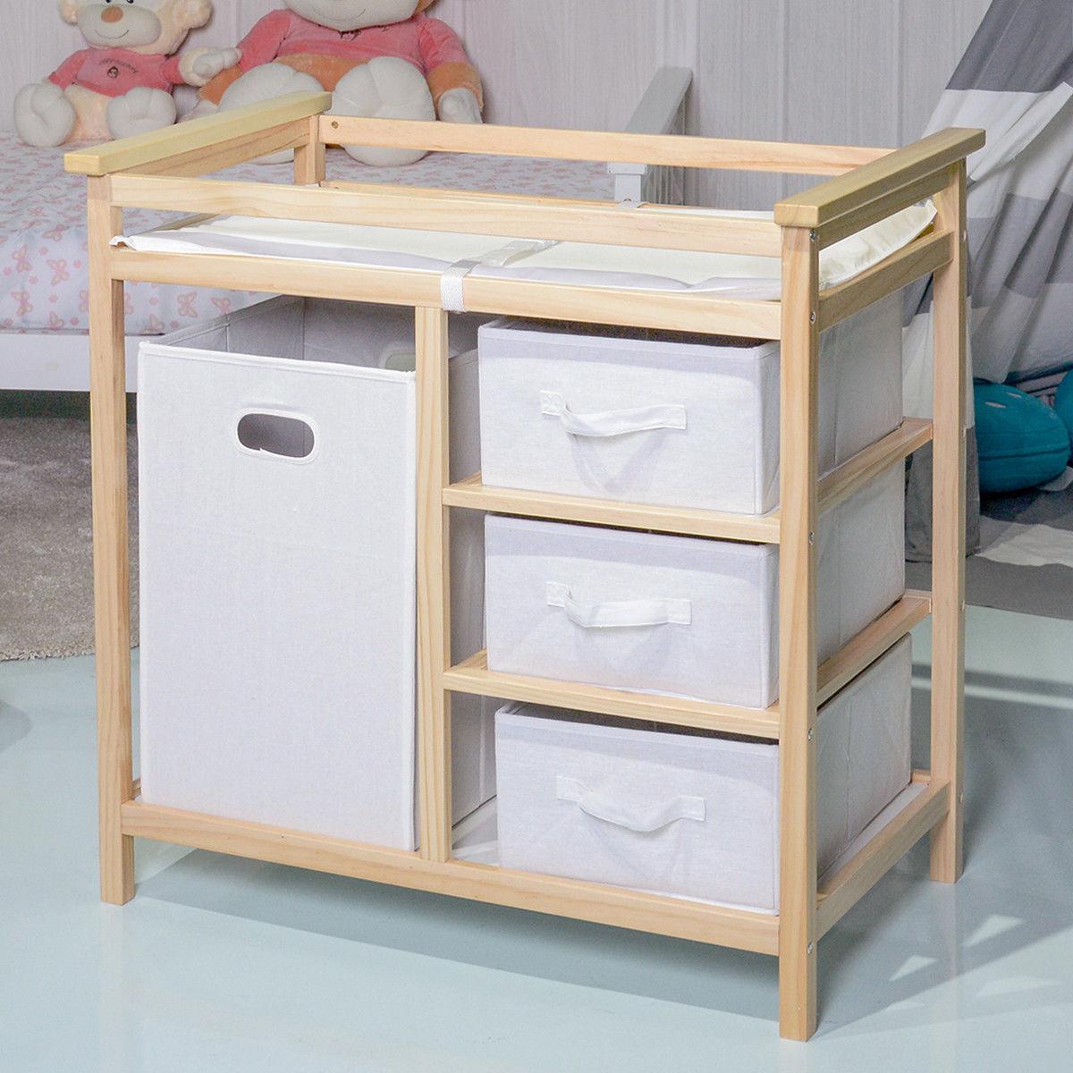 Costway Natural Infant Baby Changing Table W 3 Basket Hamper Diaper Storage Nursery