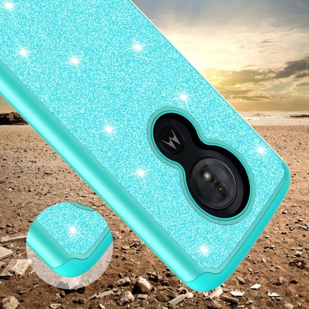 Moto G6 Play,Moto G6 Forge,Moto E5 Case,Cute Women Girls Glitter Bling Silicone Shock Proof Hybrid Case [Screen Protector] Dual Layer Protective Phone Case Cover for Motorola Moto G6 Play - Mint - image 1 de 6