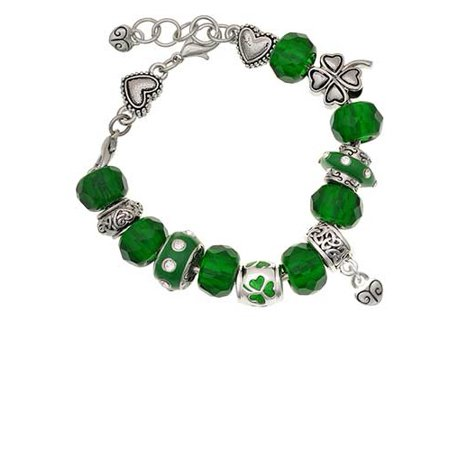 Silvertone Mini Scroll Heart Green St. Patrick's Day Bead Bracelet (Diy Scroll)
