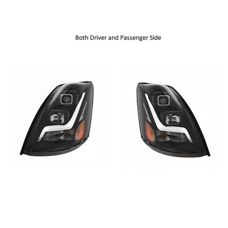 2004+ Volvo VN/VNL Blackout Projection Headlight w/ LED Position Light Bar-Set (Volvo 740 Headlight Headlamp)