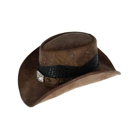 Men's Faux Leather Western Hat with Medallion Detailed Crown,  Brown (Faux Leather Hat)