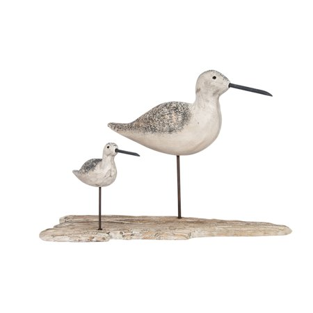 - Carved Wood Coastal Birds On Wood Base Decorative Sculpture