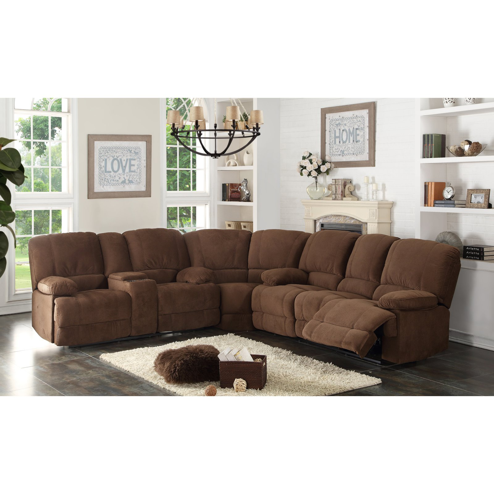 Image of AC Pacific Kevin 3 Piece Sectional Sofa Set