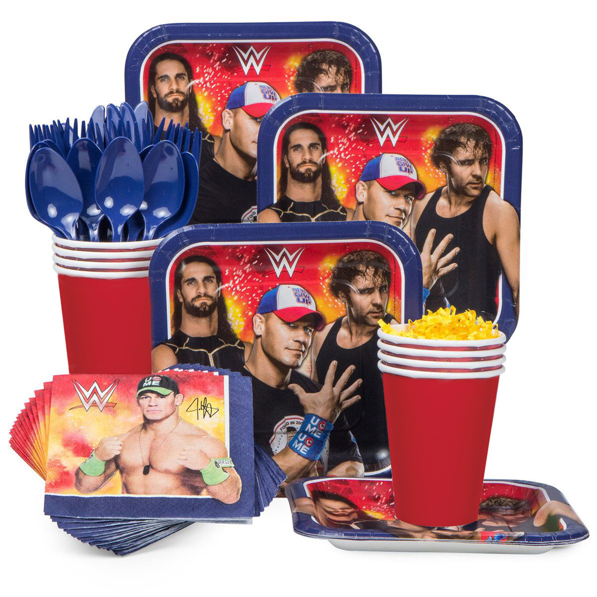 WWE Birthday Party Standard Tableware Kit Serves 8 - Party Supplies