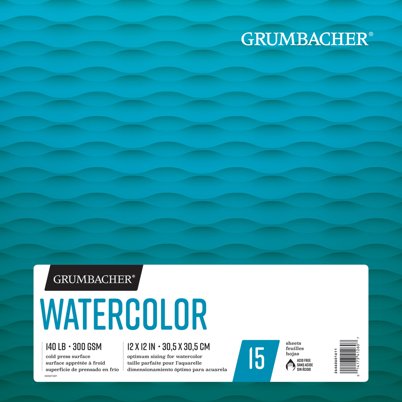 """Grumbacher Watercolor Pad, 12"""" x 12"""", 15 Sheets/Pad"""