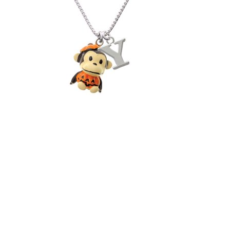 Resin Monkey in Pumpkin Costume Capital Initial Y Necklace - Capitol Costume