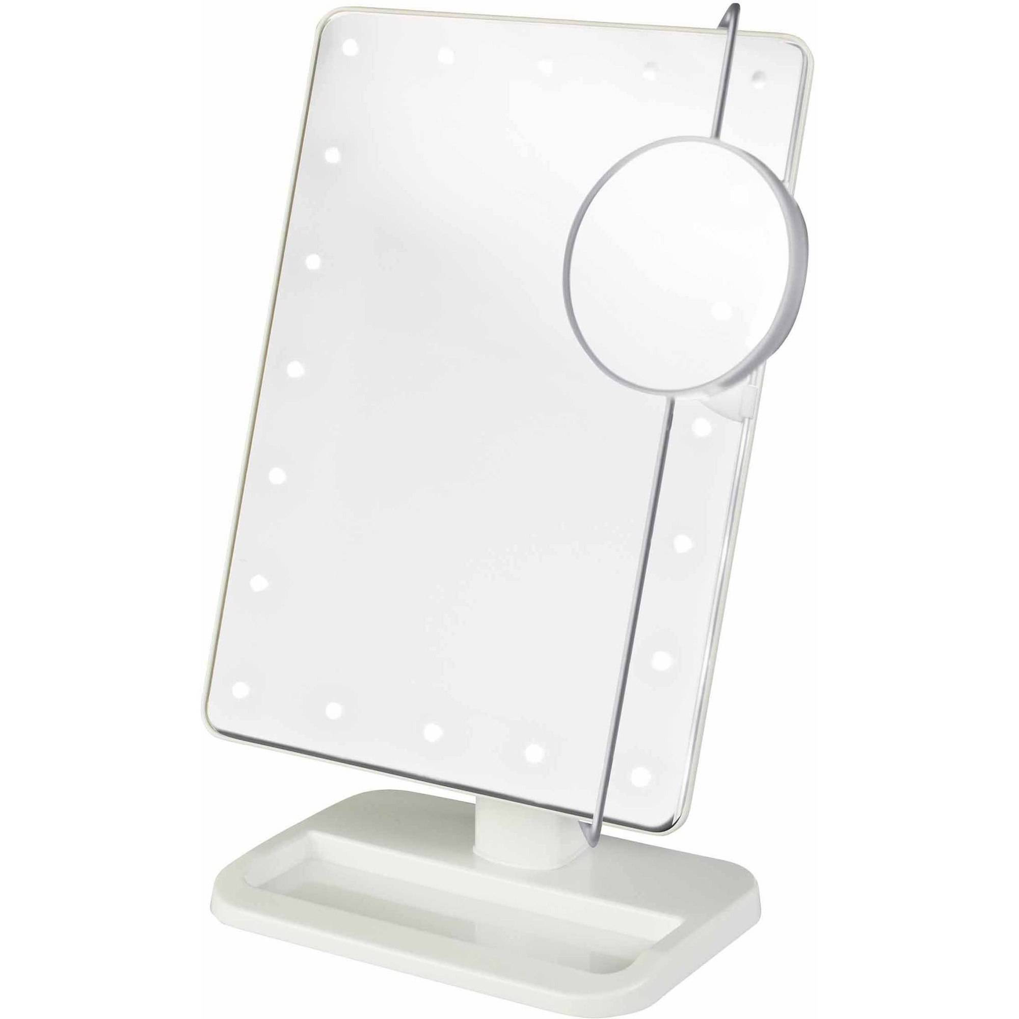 Jerdon Style JS811W LED Lighted Makeup Mirror Includes 10x Adjustable Spot  Mirror, White   Walmart.com