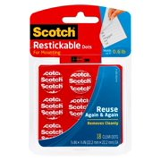 Scotch Restickable Dots, 7/8 in x 7/8 in, 18 Dots