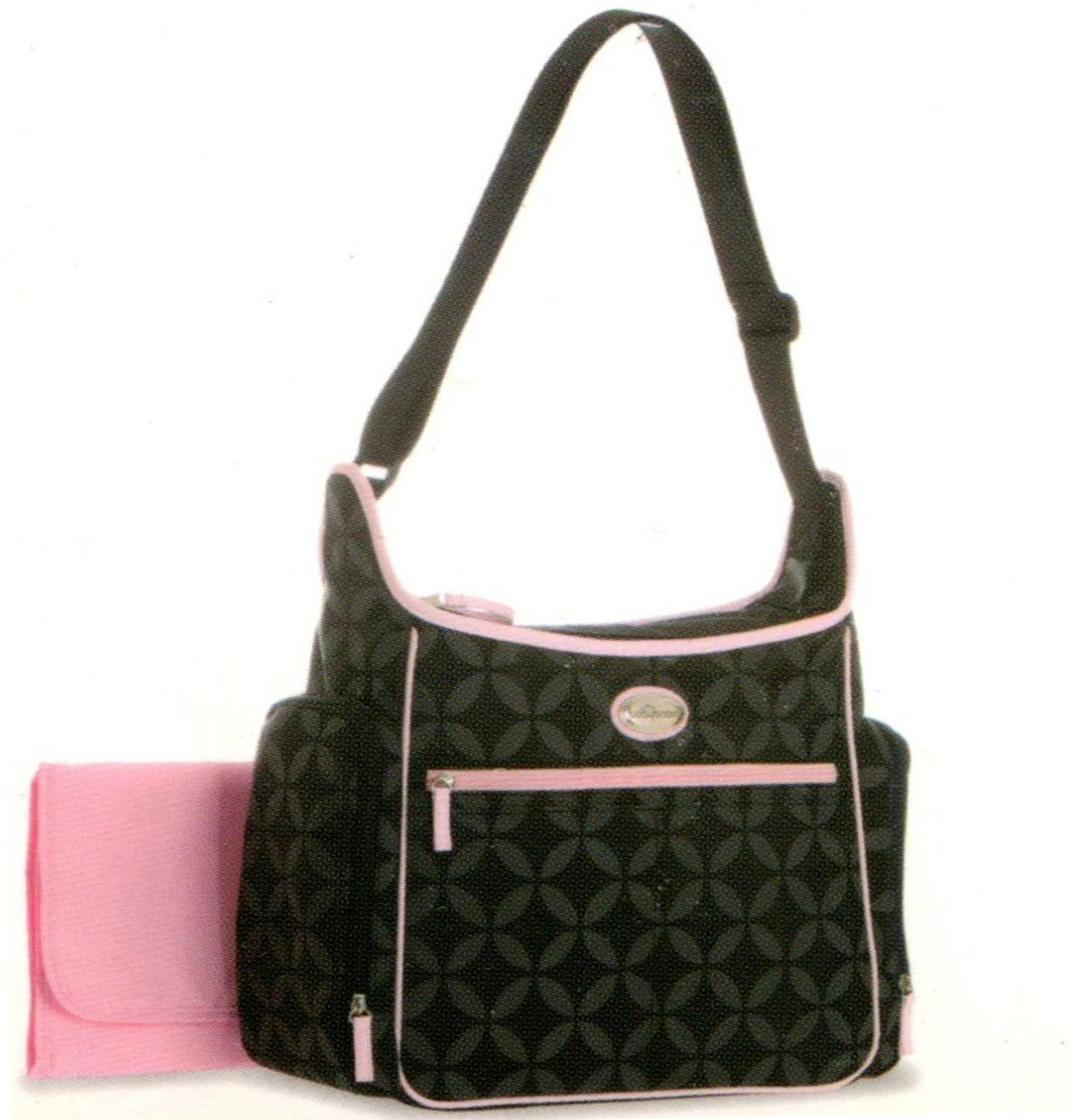Baby Boom Easy Reach Diaper Bag Black w Pink Trim by Baby Boom