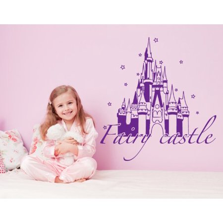 Fairy Castle Wall Decal - Wall Sticker, Vinyl Wall Art, Home Decor, Wall Mural - 1742 - White, 47in x 50in - Castle Wall Decals