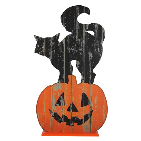 HALLOWEEN BLACK CAT WOOD PORCH DECOR, 14 X 24 INCH (Halloween Candy Bowl Out On Porch)