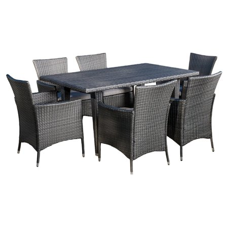 Rectangular Wicker - Isabel Wicker 7 Piece Rectangular Patio Dining Set with Cushion