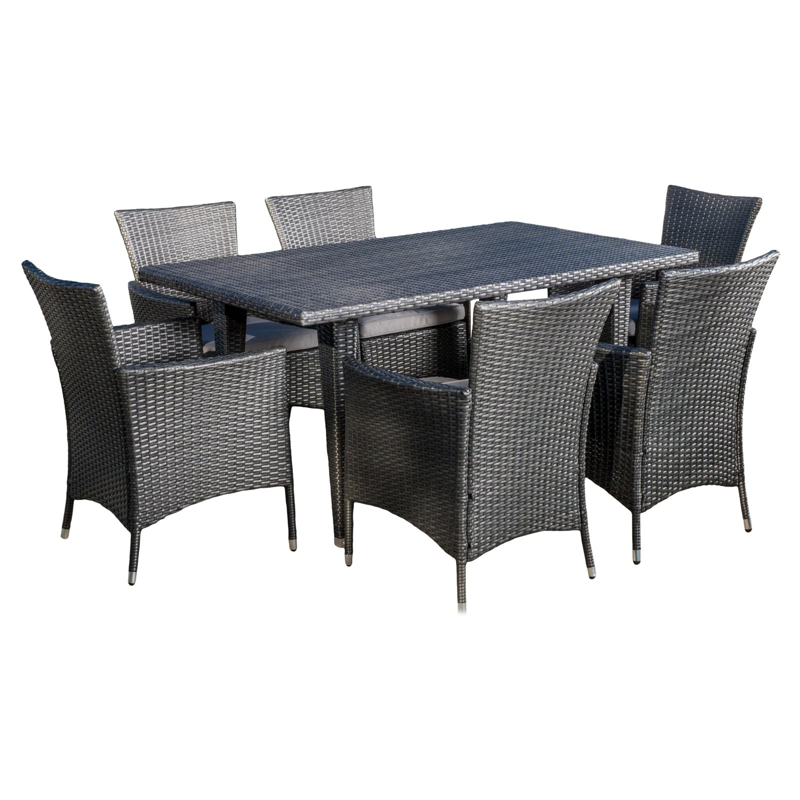 Isabel Wicker 7 Piece Rectangular Patio Dining Set with Cushion