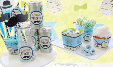 Set of 15 Dashing Little Man Mustache Party Baby Shower or Birthday Party DIY Wrapper Favors /& Decorations DIY Party Supplies